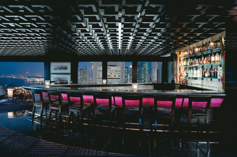 M Bar, located on the 25th floor of the hotel, affords beautiful views of Victoria Harbour and the city skyline