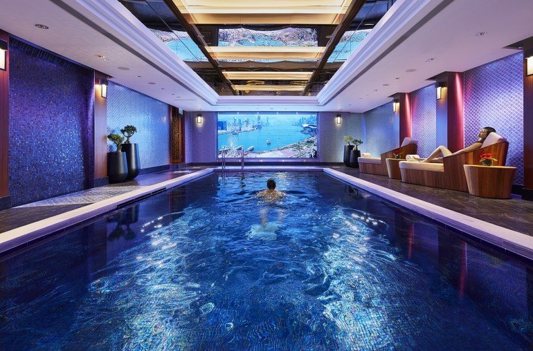 The three-lane indoor swimming pool has an underwater sound system and an electric sunblind