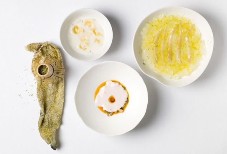 Soupe improbable de poissons fins, sardines marinées et assaisonnées d'une mayonnaise d'algues Dulse