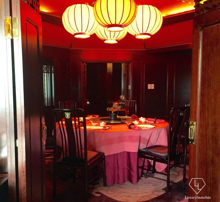 The private dining room seats 14 guests and is styled like an old Chinese pavilion