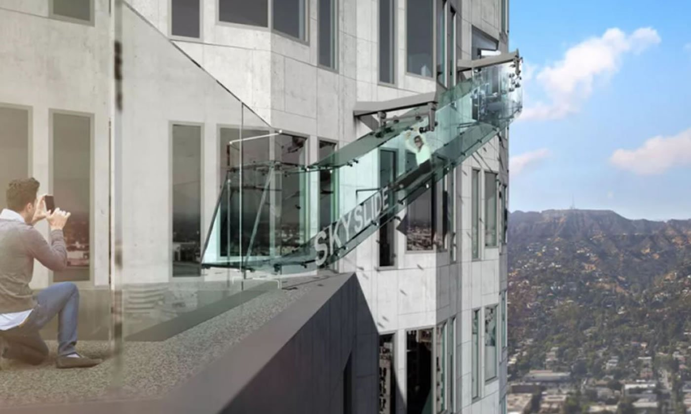 Los Angeles skyscraper to feature glass slide, suspended from 1,000 feet above ground : Luxurylaunches