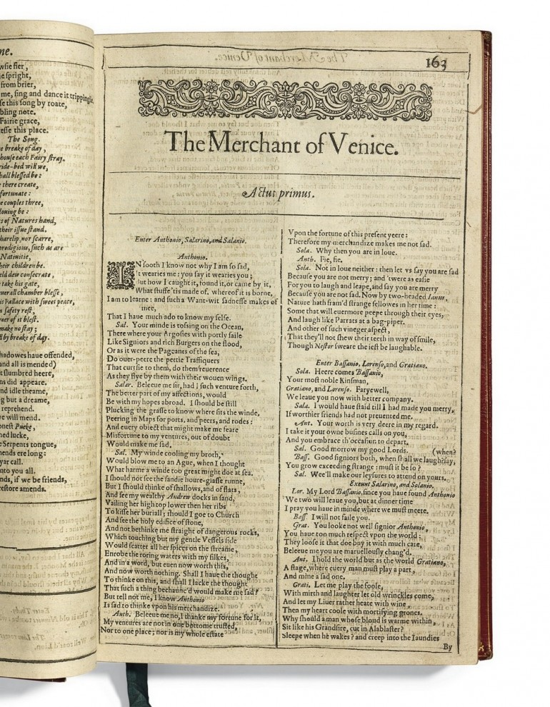 First_Folio_The_Merchant_of_Venice