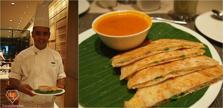 Chef Santosh with freshly prepared eggs prata
