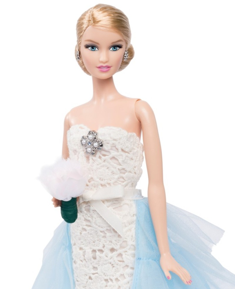 Pretty in blue barbie gets a wedding gown from her for Wedding dresses for barbie dolls