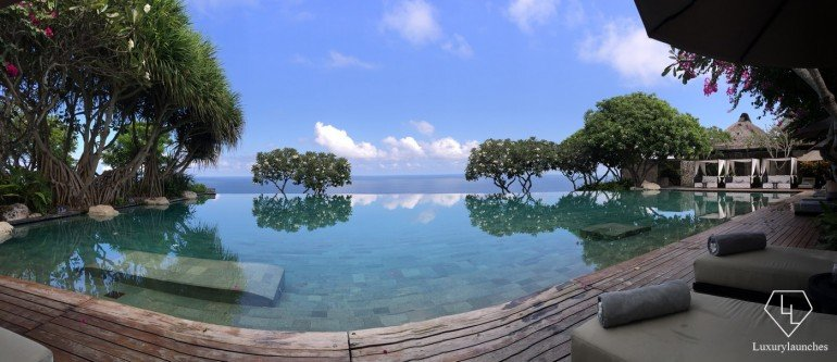 Panoramic shot of the Bulgari Hotels & Resorts Bali pool. I was fortunate enough to have the whole place to myself for a short while!