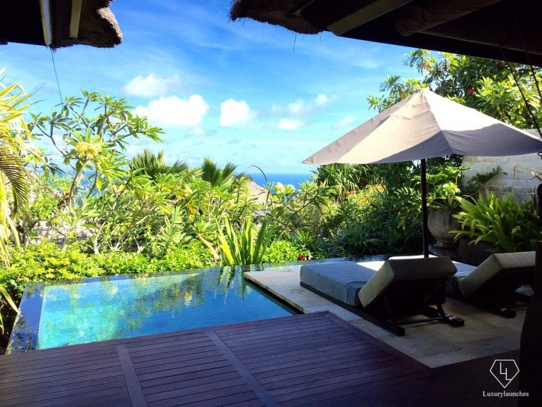 My private plunge pool, with a gorgeous view of the Indian Ocean