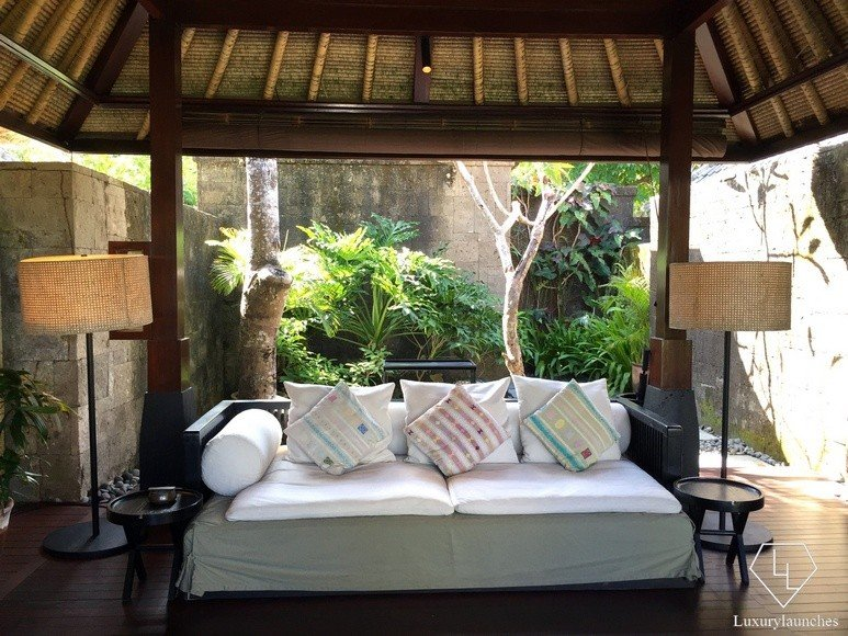 The living area in my Ocean View Villa, with the entrance and tropical garden in the background