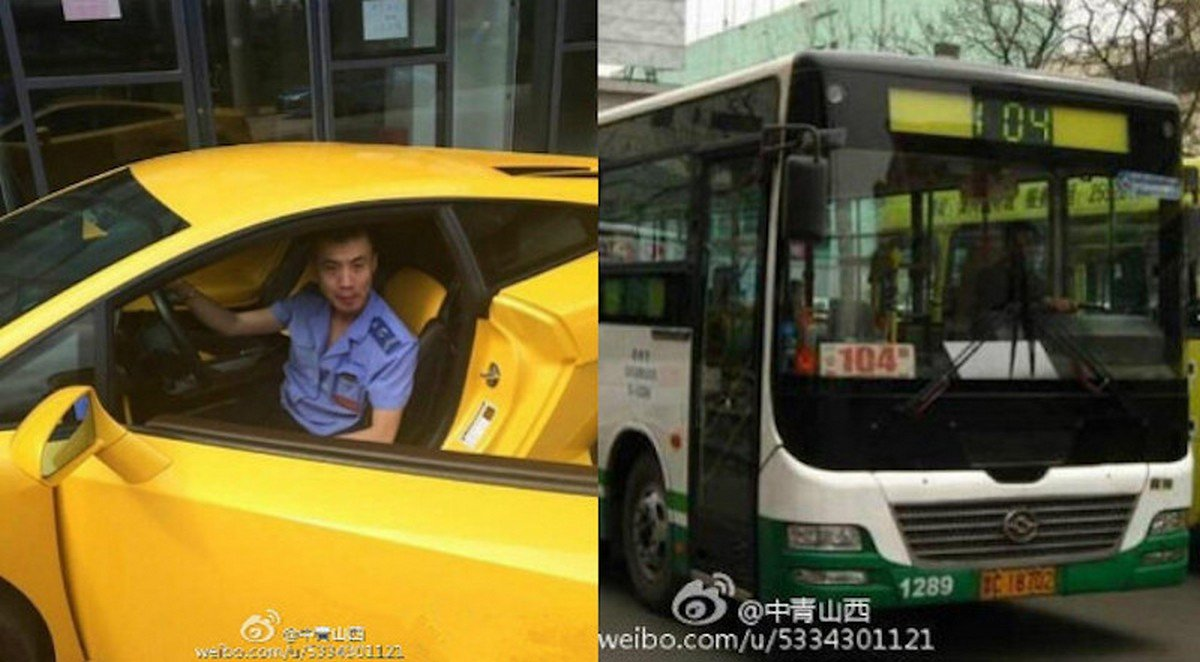 Bus Driver In China Comes To Work In His Yellow Lamborghini