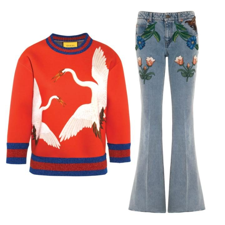 Heron print sweatshirt and flared jeans with floral embroidery