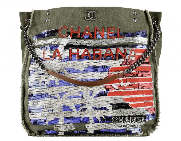 Chanel-Cuba-Khaki-embroidered-toile-shopping-bag