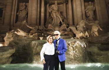FENDI - Silvia Venturini Fendi and Karl Lagerfeld  at Trevi Fountain