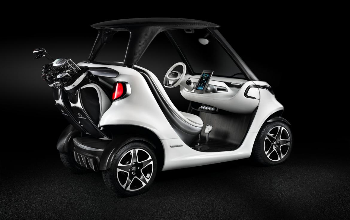 this mercedes golf cart is the coolest way to get around in the greens. Black Bedroom Furniture Sets. Home Design Ideas