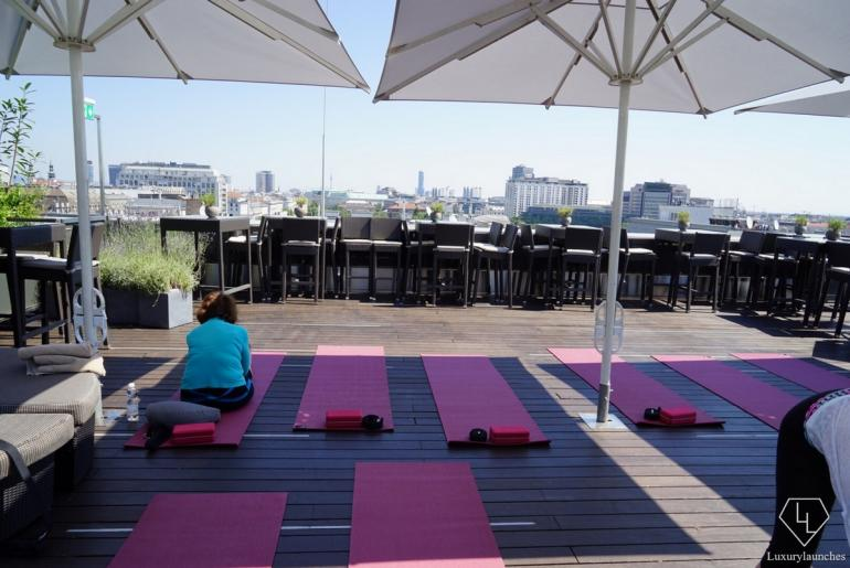 Hatha Yoga session at the Atmosphere Rooftop Bar