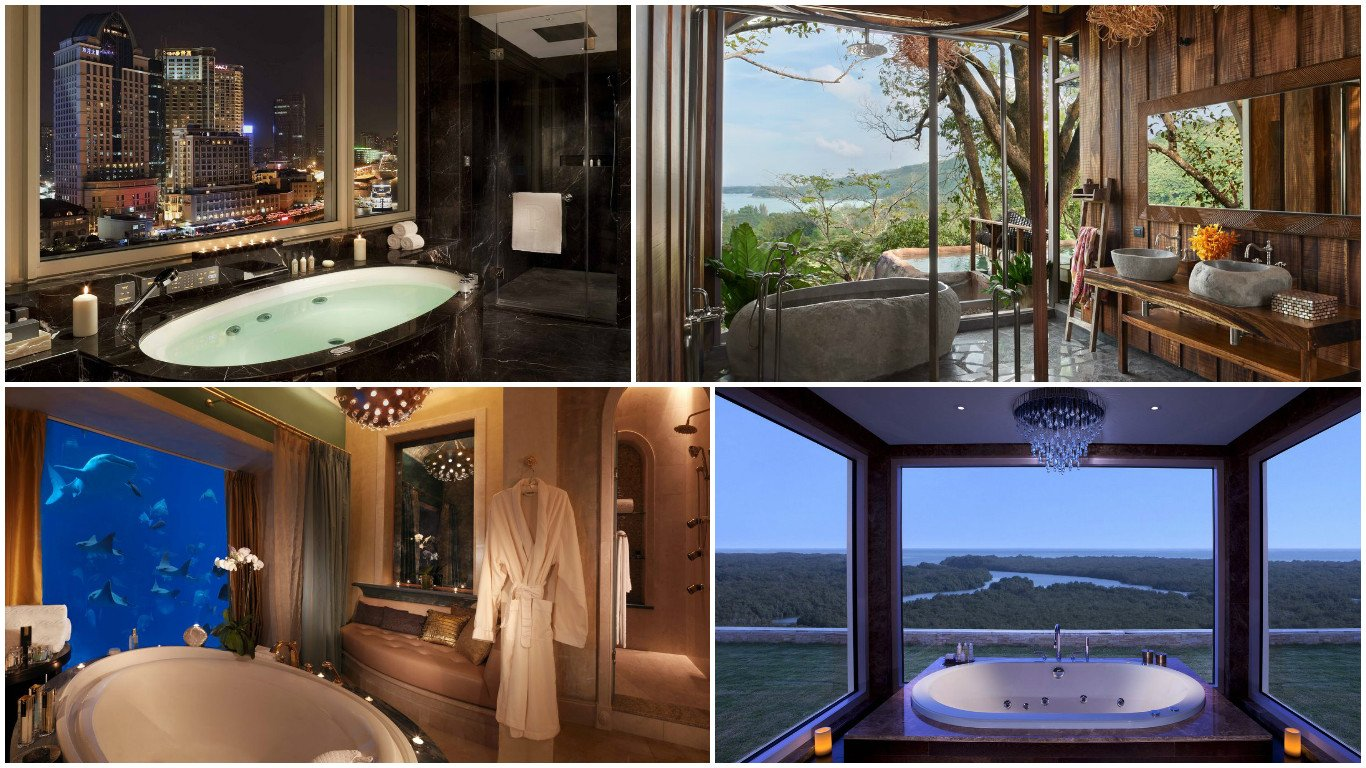 25 coolest hotel bathrooms in the world 2016 for Y hotel shared bathroom