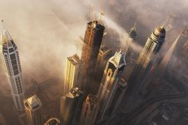 Drone and helicopter footage of Dubai-skyline  (1)