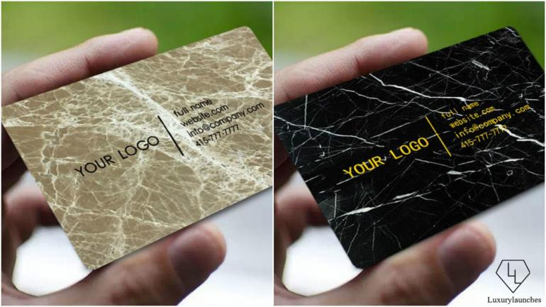 These are the world's very first real marble business cards -