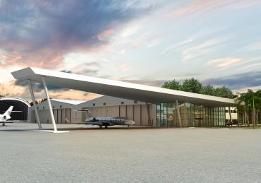 Rendering of Fontainebleau Aviation Facility's Brand-New 12,000