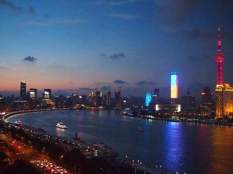 Pudong in the night as seen from my room.