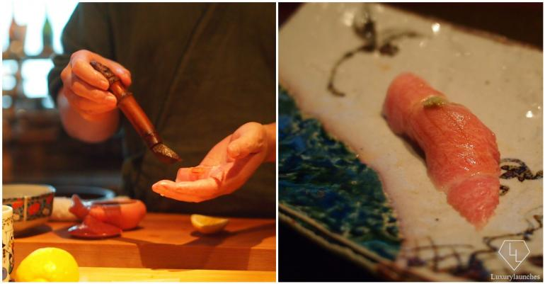 Chef Yoshi brushing soy sauce on Otoro Sushi