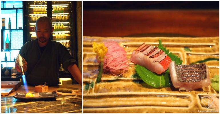 Chef Yoshi grilling kinmedai