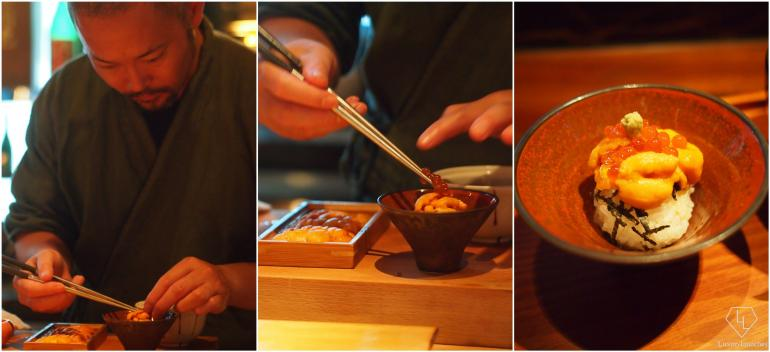 Chef Yoshi placing uni (sea urchin) and salmon roe