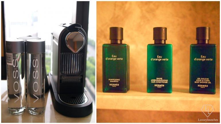 Voss water from Norway, Nespresso machine and Hermes amenities