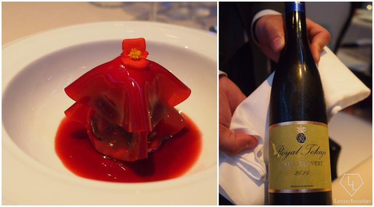 And for dessert, the Cherry Ravioli with a sweet late harvest dessert wine Royal Tokaji from Hungary.