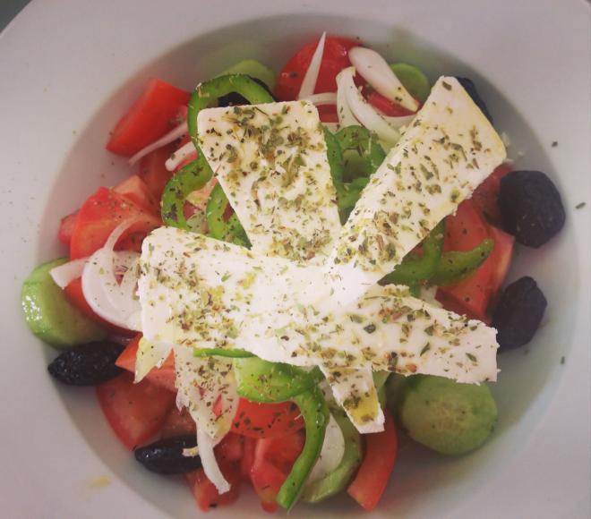 The humble delicious Greek Salad at Restaurant Plaisir