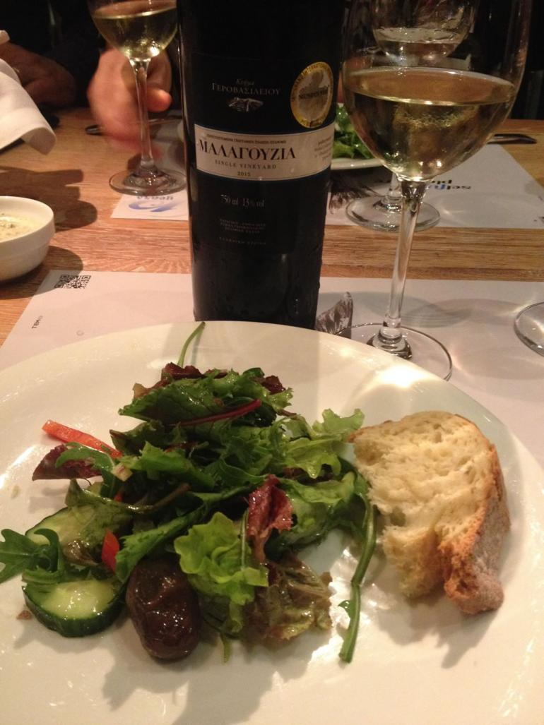 Food at 7 Thalasses paired with Malagousia wine from Gerovassiliou