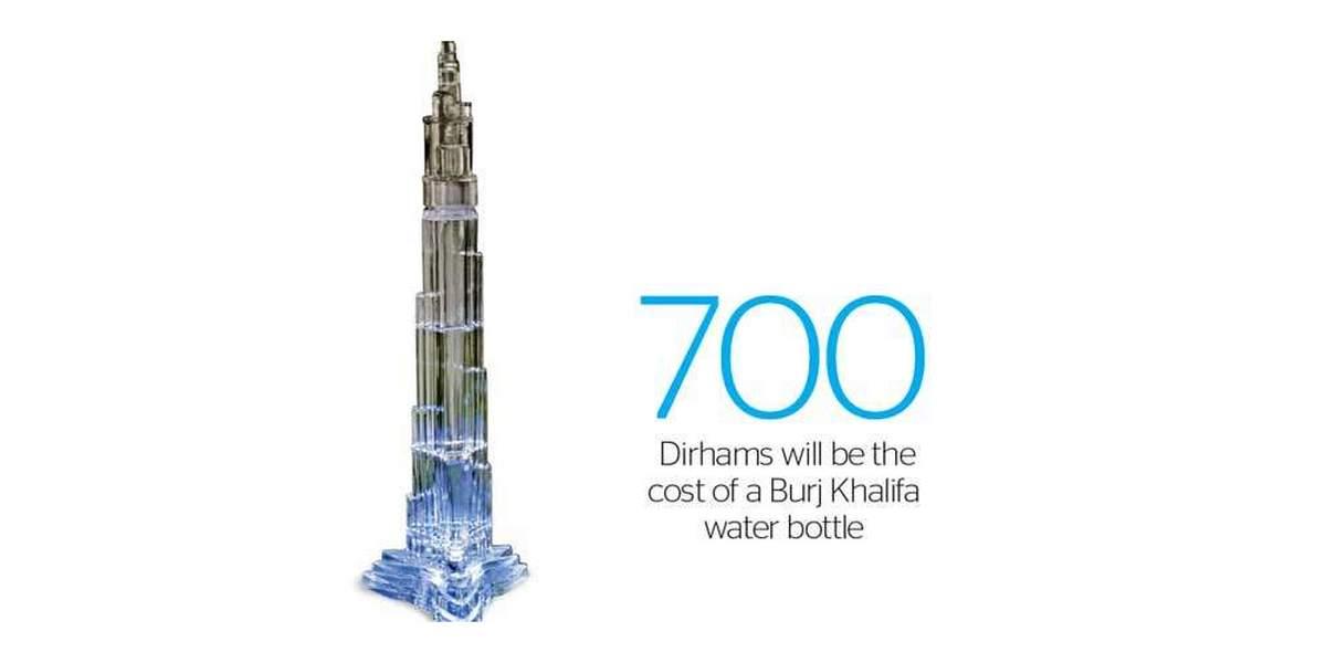 Preposterous - Burj Khalifa themed bottled water that sells for $190 -