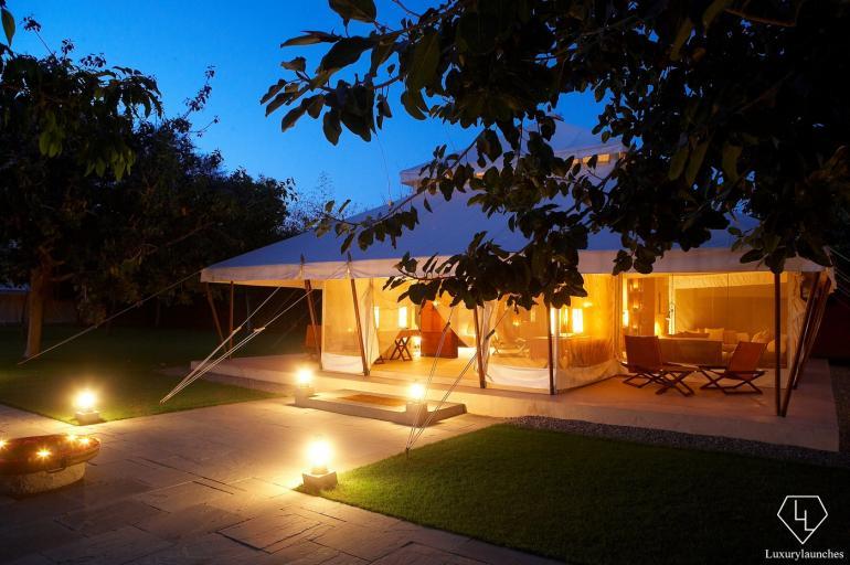 Lounge Tent Exterior night