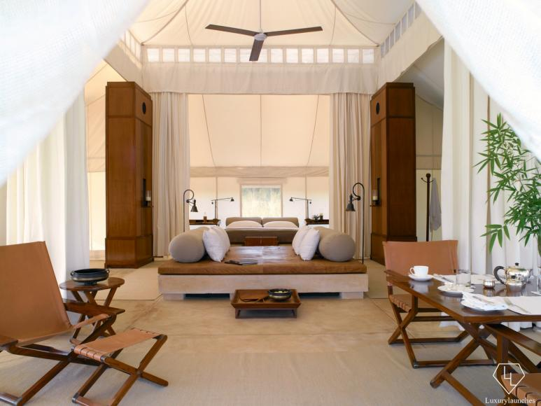 Luxury tent bedroom and lounge