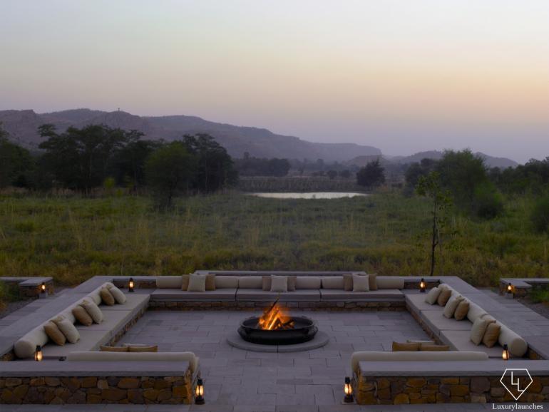 Fireplace at dusk