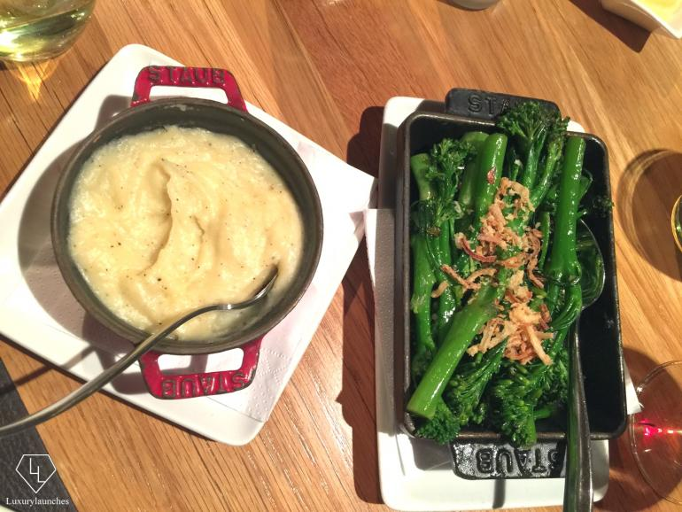 Traditional side fare: truffle mashed potatoes and green beans which accompanied our massive entrées