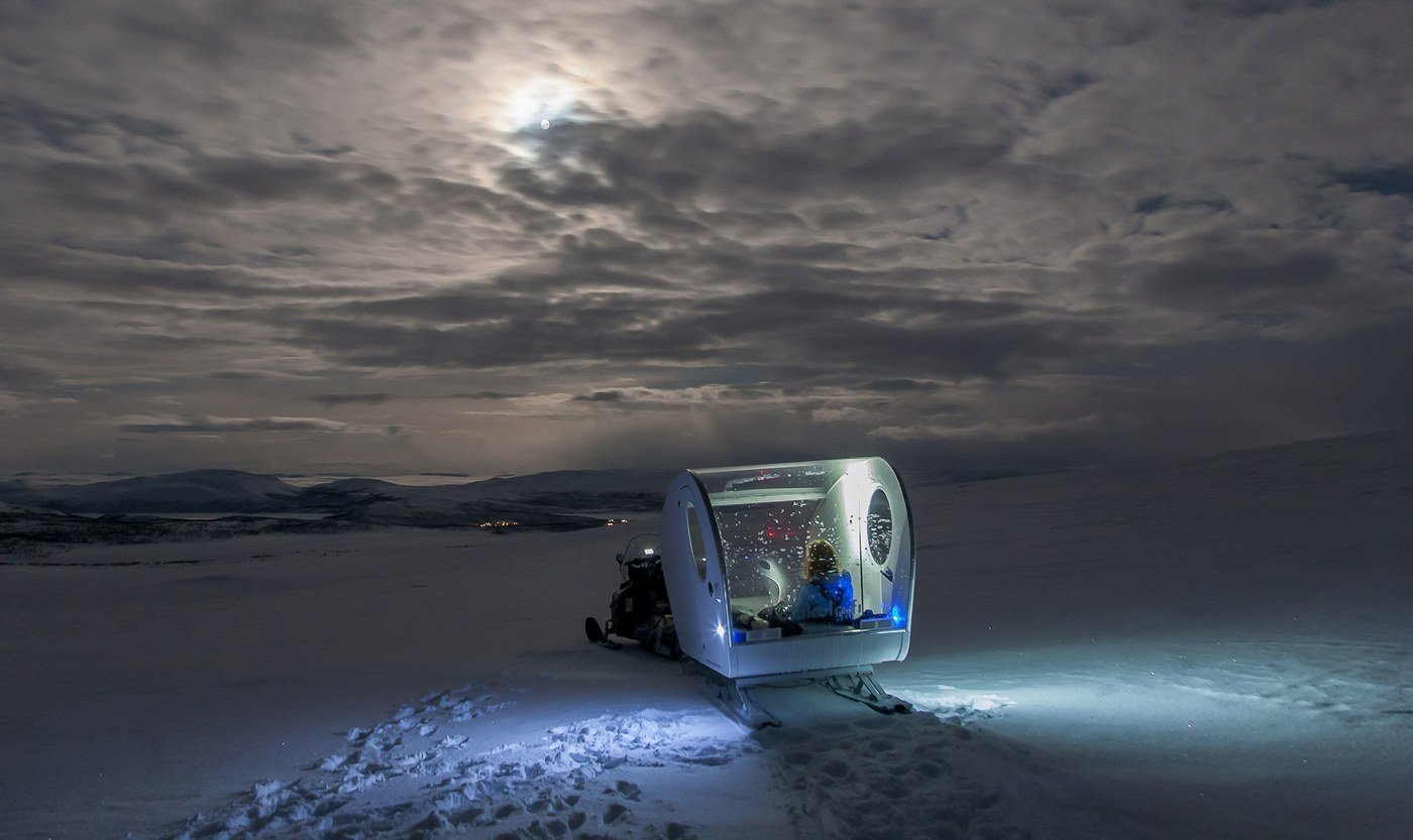 Sleep under the Northern Lights in your own bubble sled