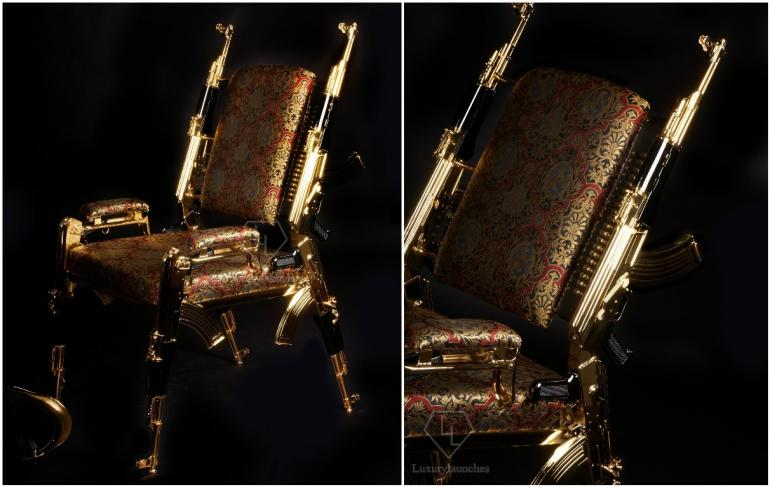 A Gold plated Chair made from actual AK-47 rifles