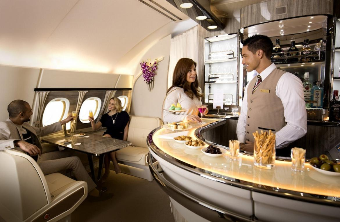 airbus a380 vip saloon lufthansa jet luxury check out the revamped business class bar on the emirates a380 967