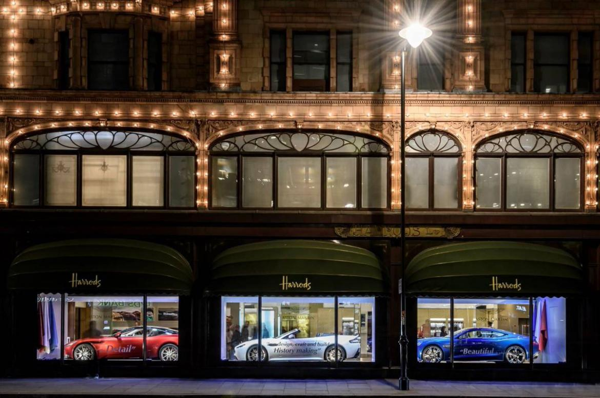 Aston Martin Takes Over The Harrods Store Front