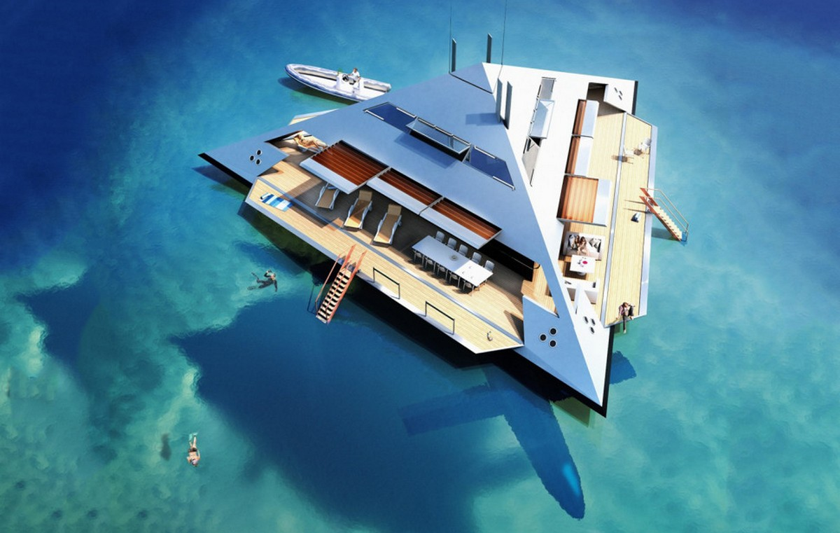 This pyramid shaped superyacht quite literally flies over the water -