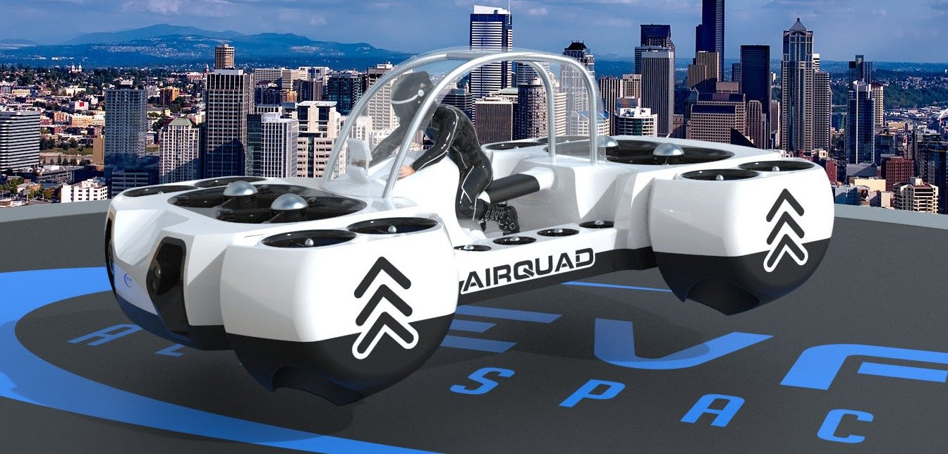 Electric-powered flying quadbike concept unveiled at Paris Airshow