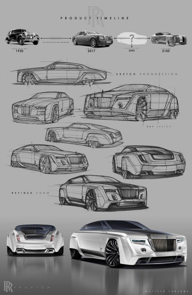 dc design rolls royce in london designer dc Matthew posted the design renderings on Behance and the Phantom concept  sits in between the current model and the Rolls-Royce 103EX concept in  terms of ...