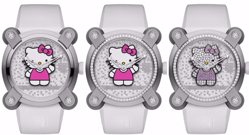 bc8e3a13a The trio of Hello Kitty watches is based on the aesthetics of the Moon  Invader series. The 40mm steel case features signature articulated lugs  fitted with ...