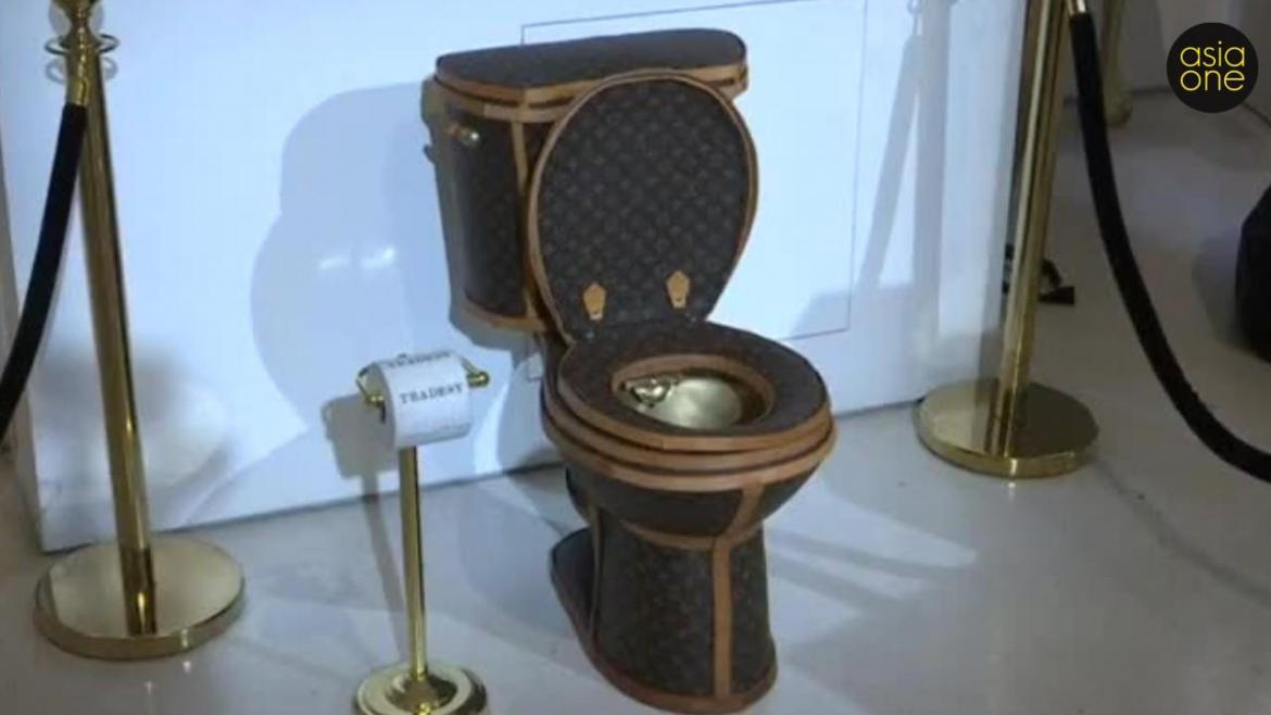 Yes This Is Real A Golden Toilet Covered In Louis