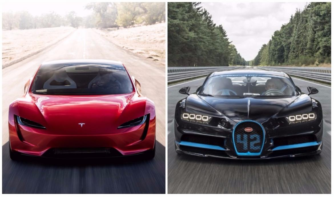 tesla roadster vs. bugatti chiron: this image clearly tells who's