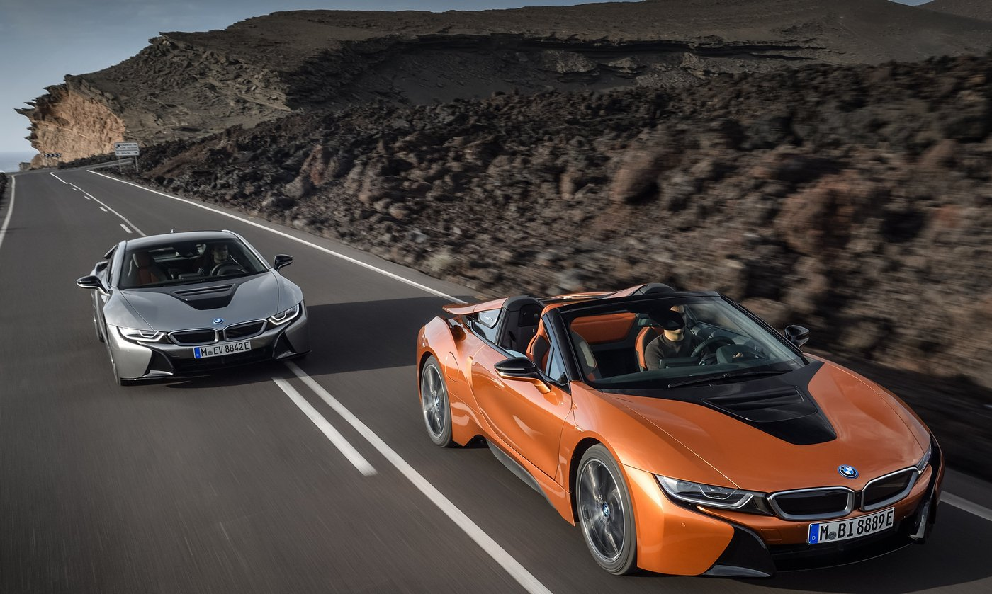 The BMW i8 hybrid sports car drops its top in LA