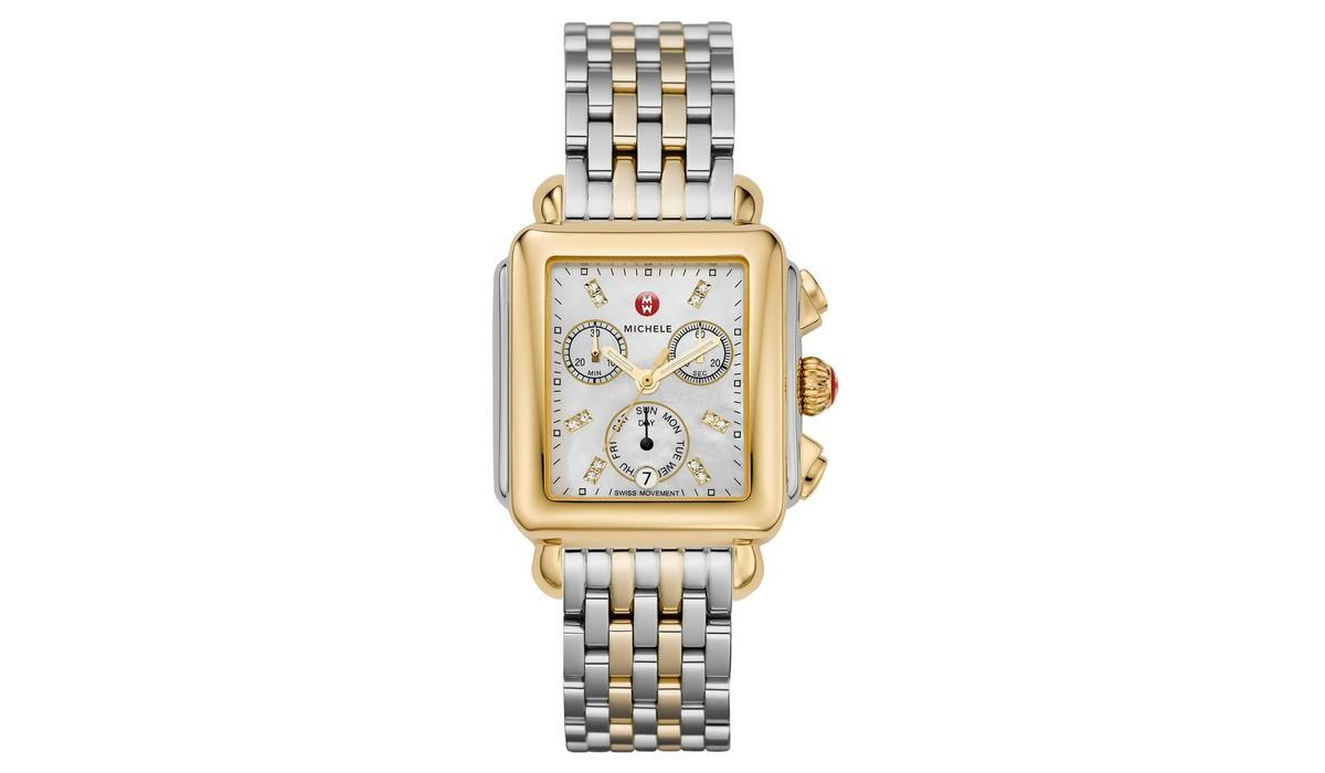 The 120 diamonds and two-tone stainless steel bracelet reign supreme on  this elegant timepiece. The watch s mother of pearl with diamonds gives the  ... 7c2230a237