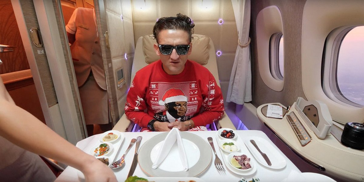 YouTuber skateboards and flies his drone inside Emirates' First Class suite