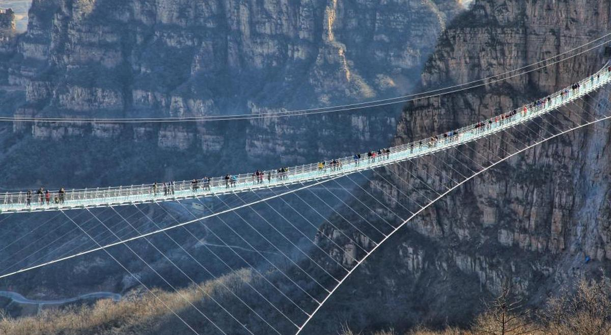 China has opened a 1601 foot long glass bottomed suspension bridge and it is freaking visitors out