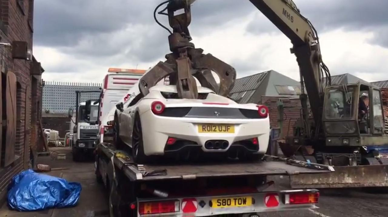 Watch Police Crush A 280k Ferrari 458 Spider Confiscated