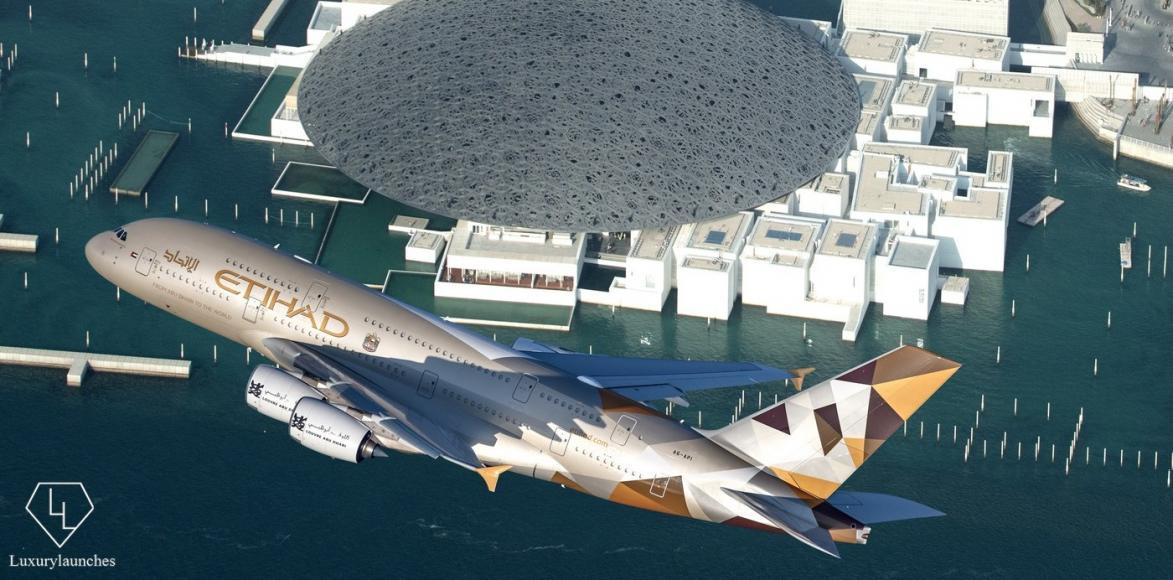 ETIHAD AIRWAYS AIRBUS A380 OVERFLYING LOUVRE ABU DHABI